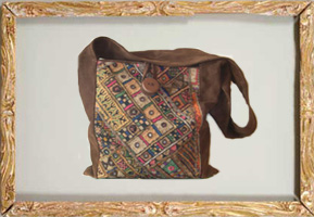 Suede and cloth bag